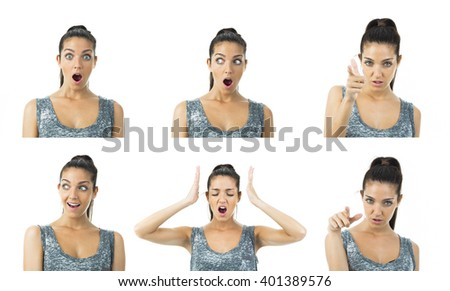 multi image real young woman expressions - stock photo