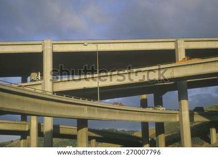 Multi-level freeway overpass, Highway 10, Los Angeles, California - stock photo