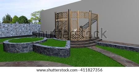 Multi level landscaping, 3d render - stock photo