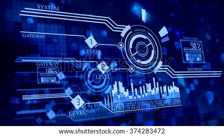 multi-leveled firewall in cyberspace performs scanning, analyzing, verifying incoming network data for checking hacking attacks and penetration to the database from Internet to prevent the robbery - stock photo