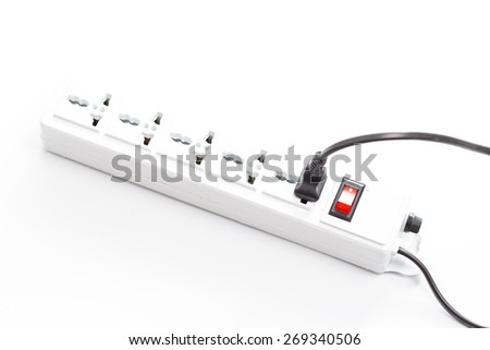 Multi plug electrical power strip isolated on a white background - stock photo