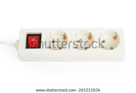 Multi sockets power extension isolated on white background - stock photo