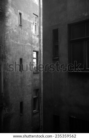 Multi-stage buildings, forced perspective; monochrome - stock photo