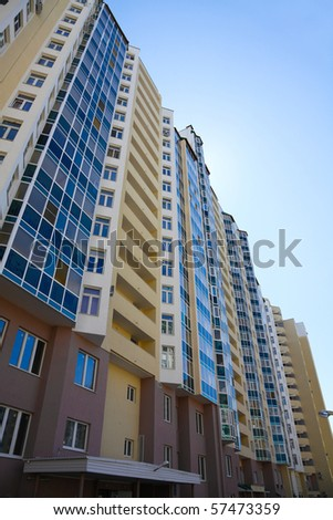multi-storey, residential new home on a sunny day - stock photo