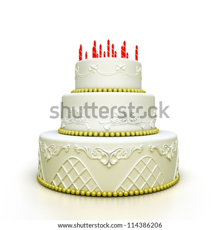 multi-tiered birthday celebration cake with sugar roses and patterns. Isolated on white background