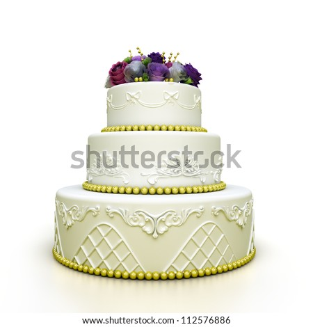 multi tiered wedding celebration cake with sugar roses and patterns. Isolated on white background