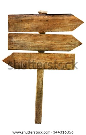 Multichoice crossroad wooden directional arrow signs isolated    - stock photo