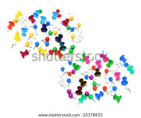 Multiclolour Pushpins on White Background