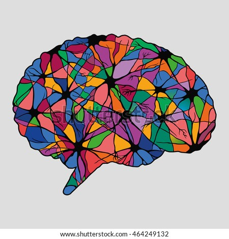 Multicolor abstract human brain, illustration