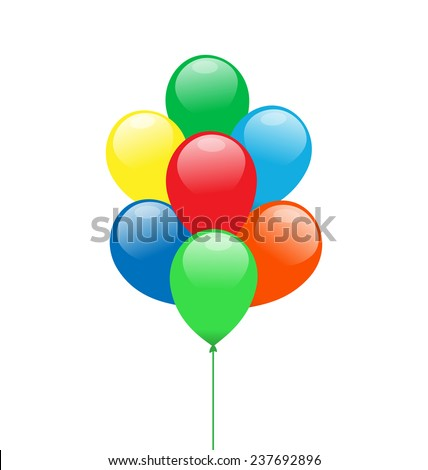 Multicolor balloons isolated on white background - stock photo