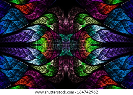 Multicolor beautiful fractal pattern. Computer generated graphics. - stock photo