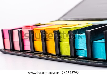 multicolor block of post it note isolated on white - stock photo