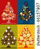 multicolor christmas trees - vector also available in my portfolio - stock photo