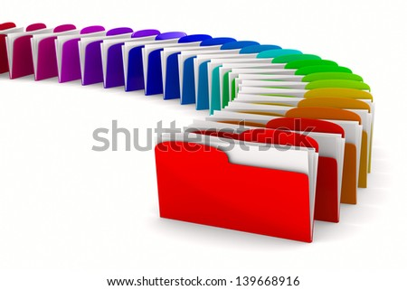 multicolor computer folder on white background. Isolated 3d image - stock photo