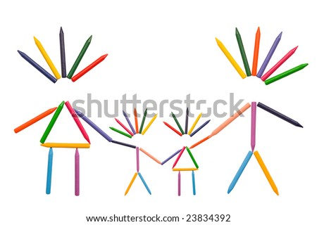 Multicolor crayons shaped as happy family isolated on white. - stock photo