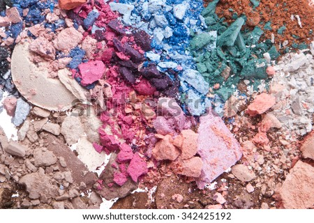 multicolor crushed eyeshadows isolated on white background - stock photo