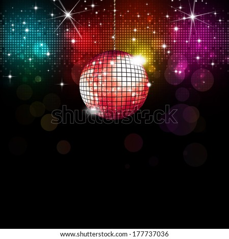 multicolor disco party music background with lights and blurs - stock photo