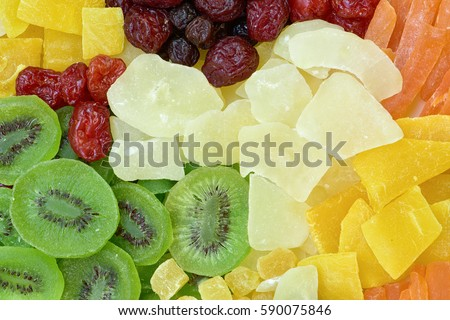 Multicolor dried fruits background