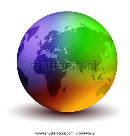 Multicolor Earth Globe - stock photo