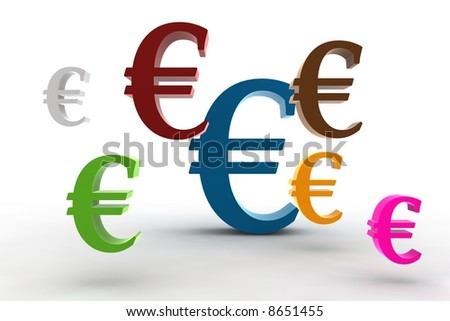 multicolor euro symbols in the air - 3d illustration isolated on white background