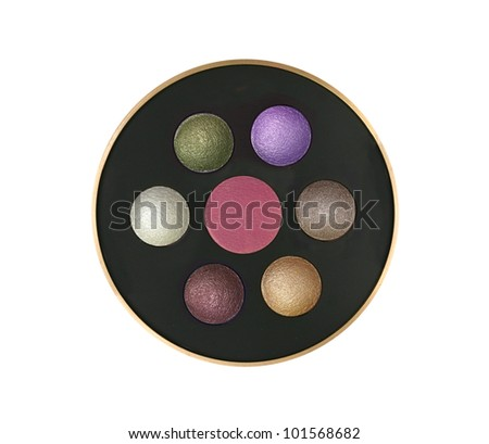 Multicolor eyeshadows in round box isolated on white - stock photo