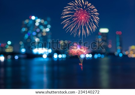 Multicolor fireworks with bangkok cityscape Blurred Photo bokeh - stock photo