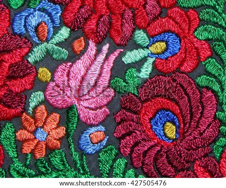 Multicolor floral hand embroidery pattern - stock photo