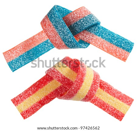 Multicolor gummy candy (licorice) band, isolated on white closeup view - stock photo