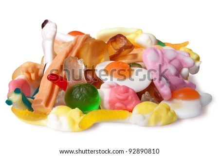 multicolor jelly on a white - stock photo