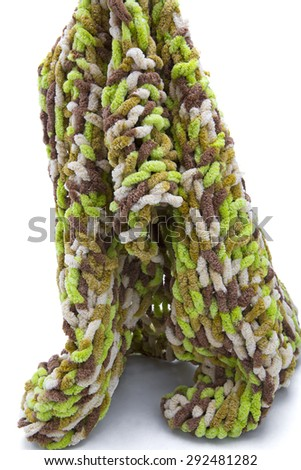 Multicolor knitted background from woolen yarns - stock photo