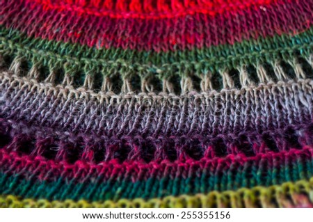 multicolor knitted fabric texture  - stock photo
