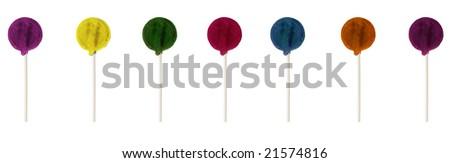 Multicolor lollipop aligned and isolated on a white background - stock photo