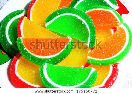 Multicolor marmalade candies - stock photo