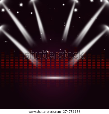 multicolor music equalizer and spotlights for active parties - stock photo