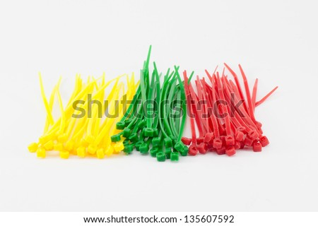 Multicolor Nylon Cable Ties on White Background