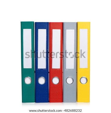 Multicolor office folders file with papers. Colorful business file folders, isolated on white background.