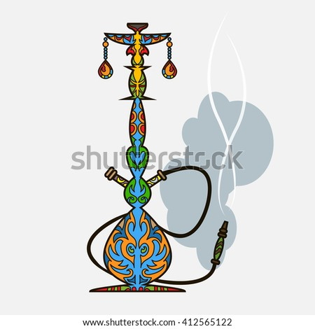Multicolor oriental design hookah  - stock photo