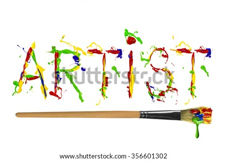 Multicolor paint painted word artist with paintbrush underline - stock photo