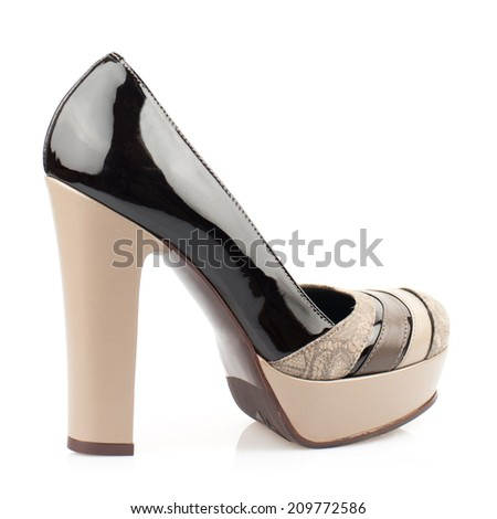 Multicolor patent high heel women shoe isolated on white background.