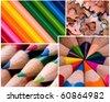 Multicolor pencils background - stock photo