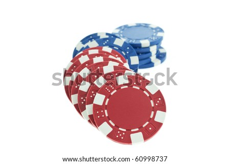multicolor poker chips heap isolated on white background. closeup horizontal shot