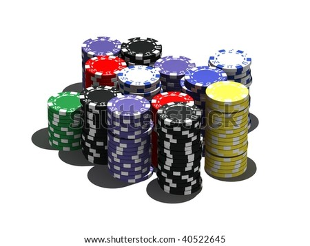 multicolor poker chips - isolated on white