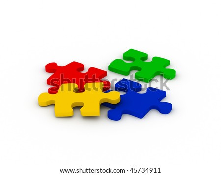 Multicolor puzzle. Red, green, blue and yellow parts isolated on white background. High quality 3d render.