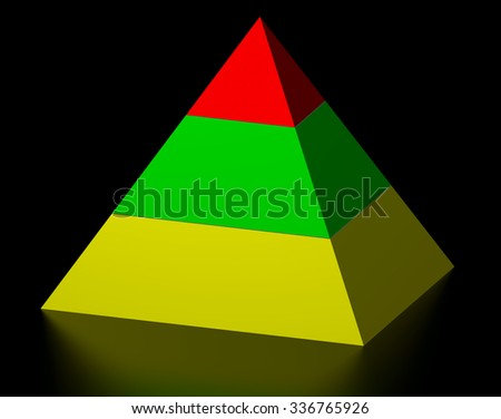 Multicolor pyramid on reflective background - stock photo