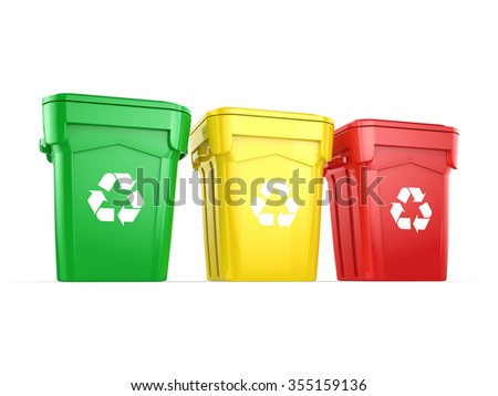 Multicolor  recycling isolated bins on white background - stock photo