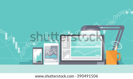 Multicolor stock exchange trading of web banners. Equity market. World economy major trends. Modern flat design. Forex. - stock photo