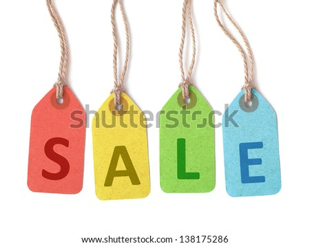 "Multicolor tags lettering ""sale"" isolated on white background - stock photo"