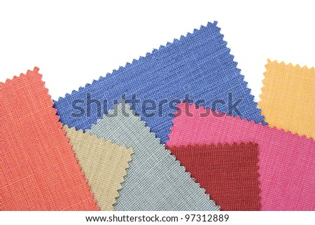 Multicolor tone of fabric sample on white background - stock photo