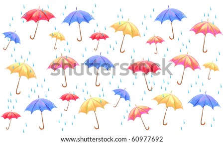 multicolor umbrella pattern oil pastel illustration