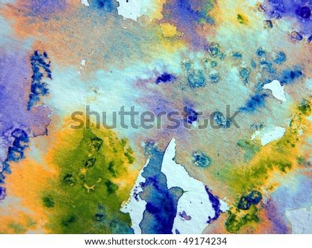 Multicolor Watercolor Abstract - stock photo
